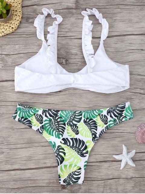 shops Frill Trim Scoop Neck Printed Bikini Set - WHITE M Mobile