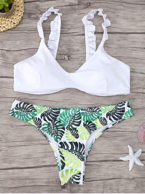 latest Frill Trim Scoop Neck Printed Bikini Set - WHITE S Mobile