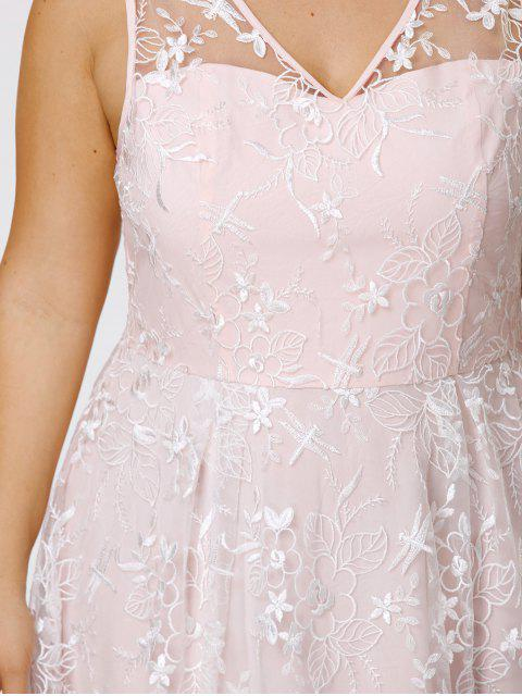 buy Plus Size Sleeveless Embroidery Skater Dress - PINKBEIGE 4XL Mobile