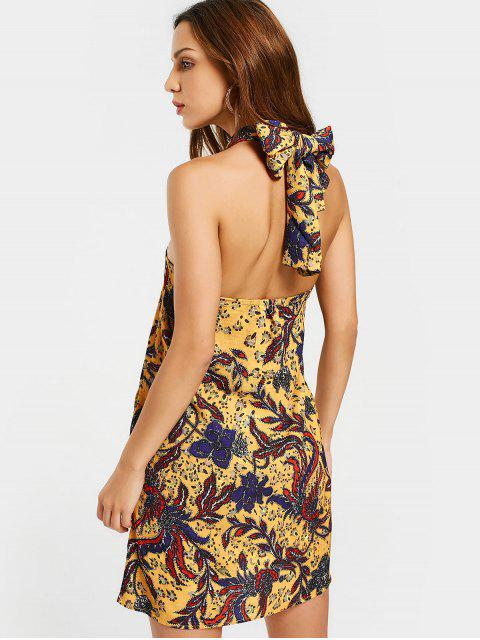trendy Printed Backless Cut Out Mini Dress - COLORMIX L Mobile