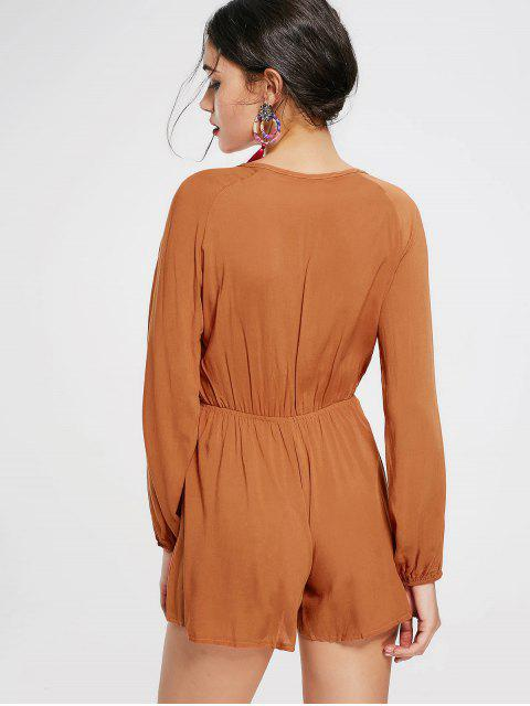 sale Plunging Neck Long Sleeve Romper - LATERITE L Mobile