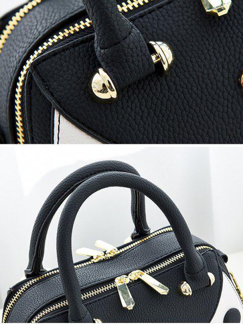 buy Textured Leather Color Block Handbag - BLACK  Mobile