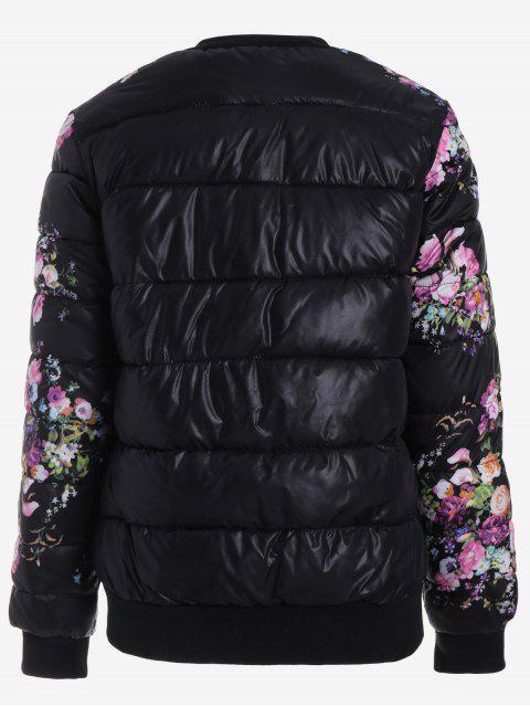fashion Snap Button Floral Jacket - BLACK M Mobile