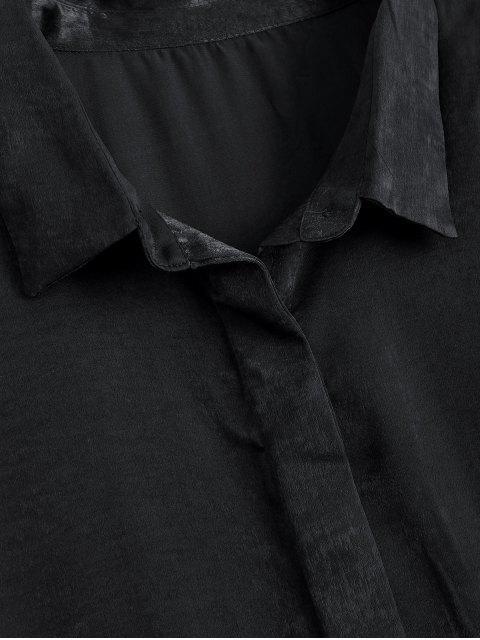 buy Button Up Plain Longline Shirt - BLACK L Mobile