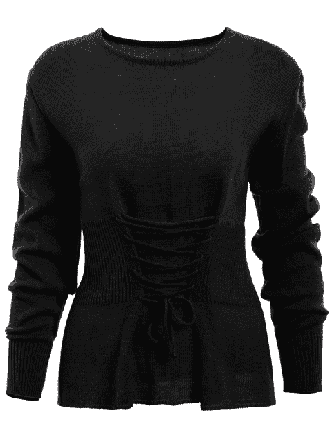 latest Lace Up Long Sleeve Sweater - BLACK ONE SIZE Mobile