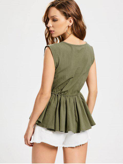 outfits Belted Round Neck Smock Top - ARMY GREEN ONE SIZE Mobile
