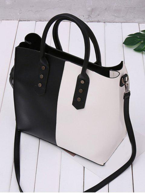 womens Metal Embellished Two Tone Tote Bag - BLACK WHITE  Mobile