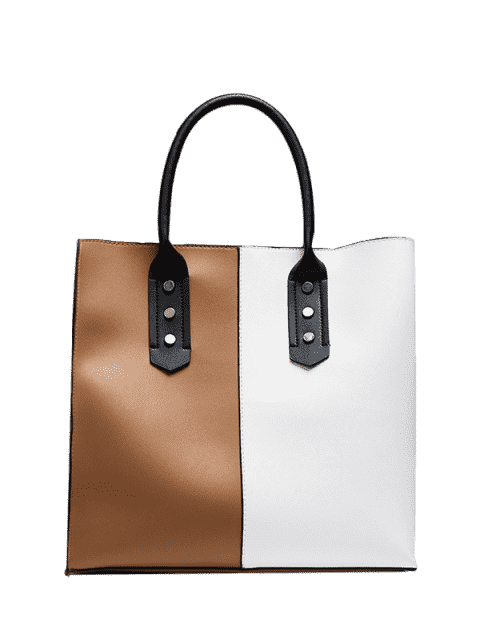 women Metal Embellished Two Tone Tote Bag - WHITE AND BROWN  Mobile