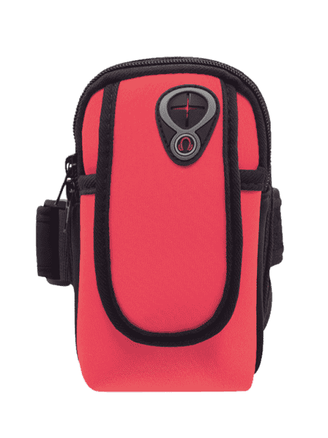 sale Polyester Colour Block Running Arm Bag - RED  Mobile