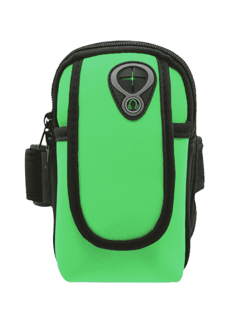 affordable Polyester Colour Block Running Arm Bag - GREEN  Mobile