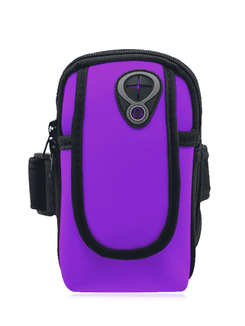 womens Polyester Colour Block Running Arm Bag - PURPLE  Mobile