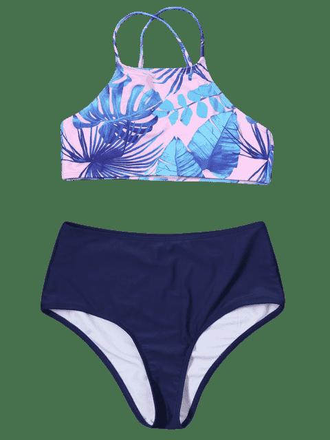 ladies Handpainted Palm Leaf Cropped Top Bikini - COLORMIX M Mobile