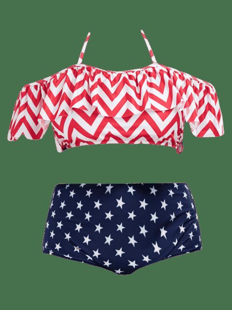 Chevron Star Print Plus Size Halter Bikini - Multicolore XL Mobile