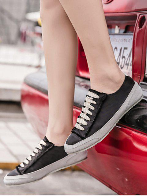 new Suede Insert Satin Sneakers - BLACK 40 Mobile