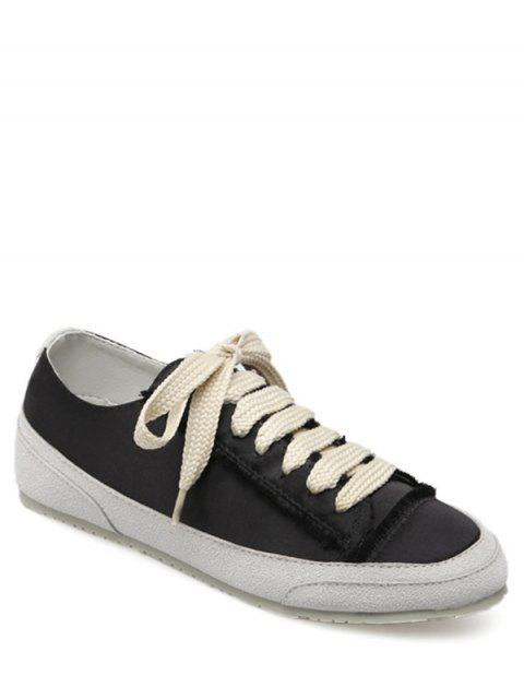 outfit Suede Insert Satin Sneakers - BLACK 38 Mobile