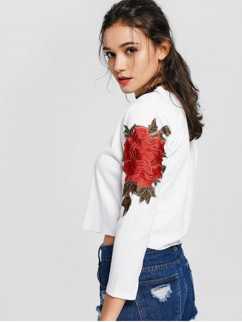 new Skew Collar Floral Patched Tee - WHITE S Mobile