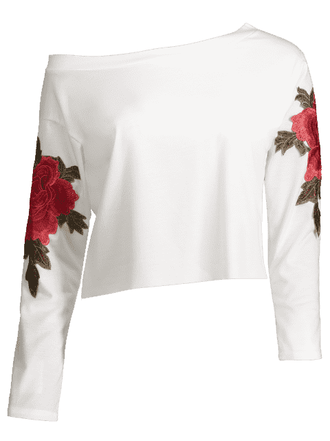 outfits Skew Collar Floral Patched Tee - WHITE XL Mobile