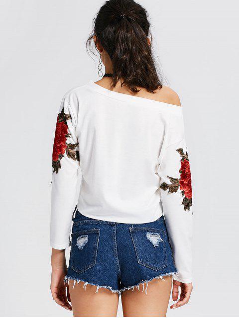 T-shirt à motifs floraux en col tendre - Blanc XL Mobile