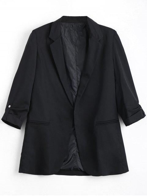 affordable Invisible Pockets Lapel Blazer - BLACK S Mobile
