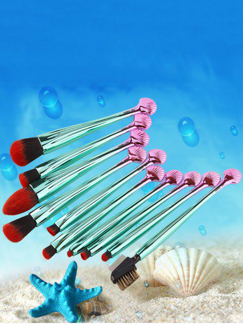 hot 10Pcs Gradient Color Multifunction Ocean Shell Brushes Set - BLACK AND GREEN  Mobile