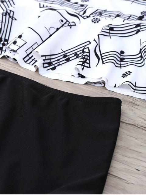 lady Musical Notes Print Peplum Tankini Set - WHITE AND BLACK S Mobile