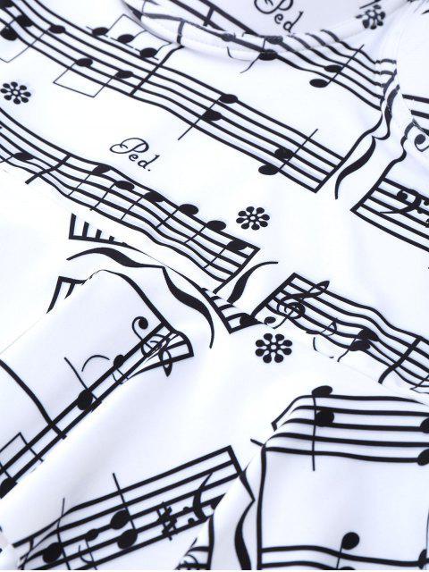 new Musical Notes Print Peplum Tankini Set - WHITE AND BLACK XL Mobile