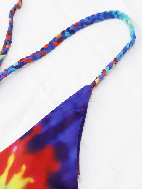 Tie Dye Strapped Straps One Piece Swimsuit - Coloré S Mobile