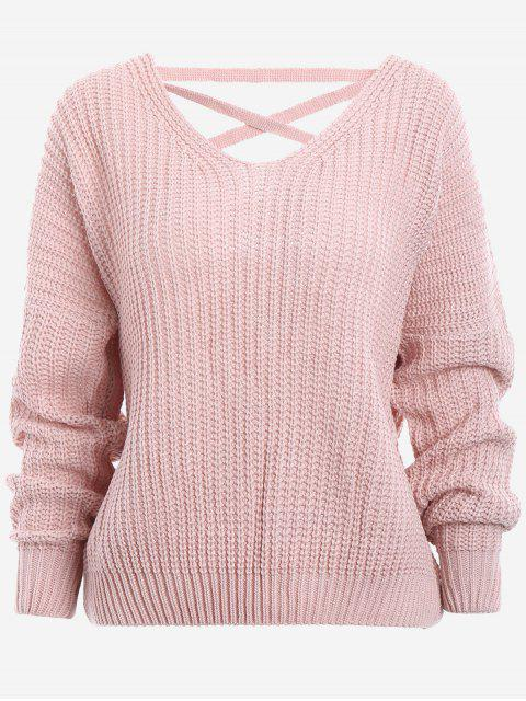 shop Back Lace Up Drop Shoulder Sweater - PINK ONE SIZE Mobile