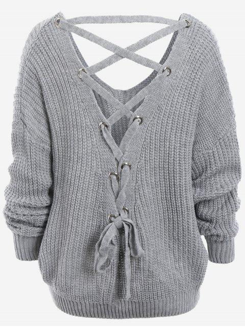 outfits Back Lace Up Drop Shoulder Sweater - GRAY ONE SIZE Mobile