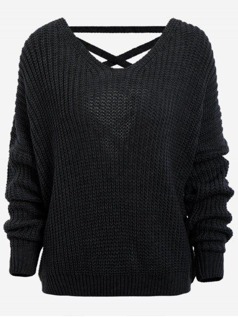 outfit Back Lace Up Drop Shoulder Sweater - BLACK ONE SIZE Mobile