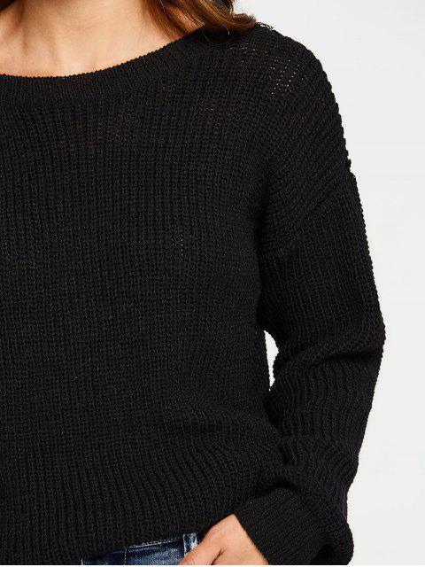 affordable Back V Oversized Chunky Sweater - BLACK ONE SIZE Mobile