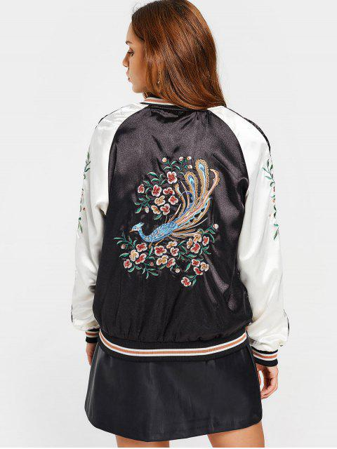sale Zippers Floral Embroidered Souvenir Jacket - BLACK S Mobile