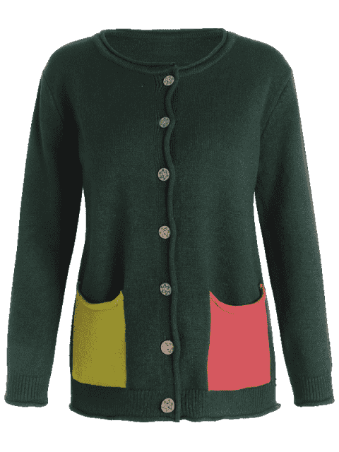 affordable Floral Embroidered Button Up Cardigan - DEEP GREEN ONE SIZE Mobile