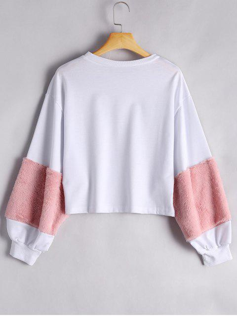 women's Puff Sleeve Faux Fur Embellished Sweatshirt - WHITE XL Mobile