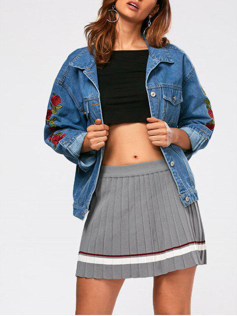 Jean Jacke mit Rose Stickerei und Abfallschulter - Blau M Mobile