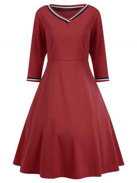 outfit V Neck Three Quarter Sleeve Dress - RED M Mobile