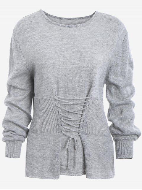 trendy Lace Up Long Sleeve Sweater - GRAY ONE SIZE Mobile