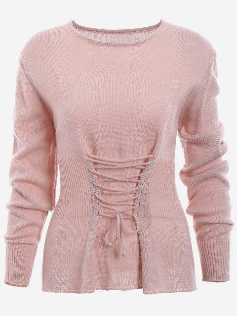 shops Lace Up Long Sleeve Sweater - PINK ONE SIZE Mobile