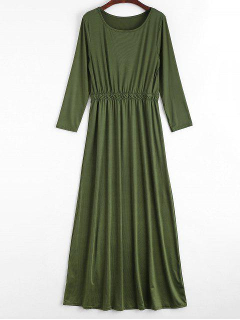 chic Round Collar Long Sleeve Maxi Dress - ARMY GREEN S Mobile
