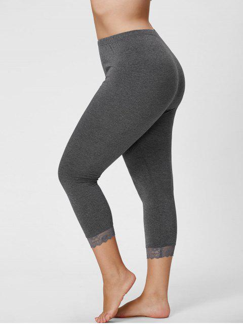 new Plus Size Lace Hem Capri Leggings - GRAY 2XL Mobile
