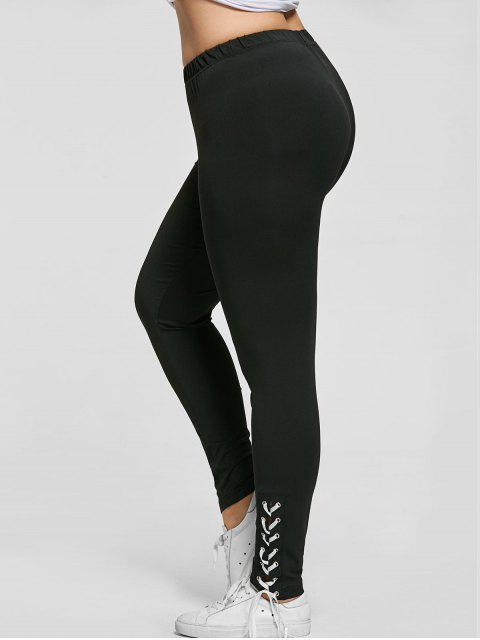 chic Plus Size Lace Up Skinny Pants - BLACK XL Mobile