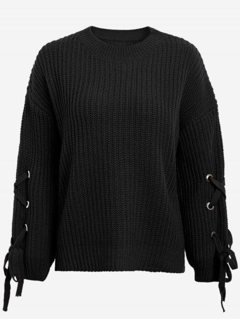 fancy Drop Shoulder Lace Up Sweater - BLACK ONE SIZE Mobile