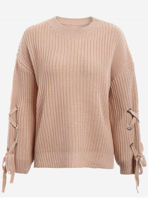 unique Drop Shoulder Lace Up Sweater - KHAKI ONE SIZE Mobile