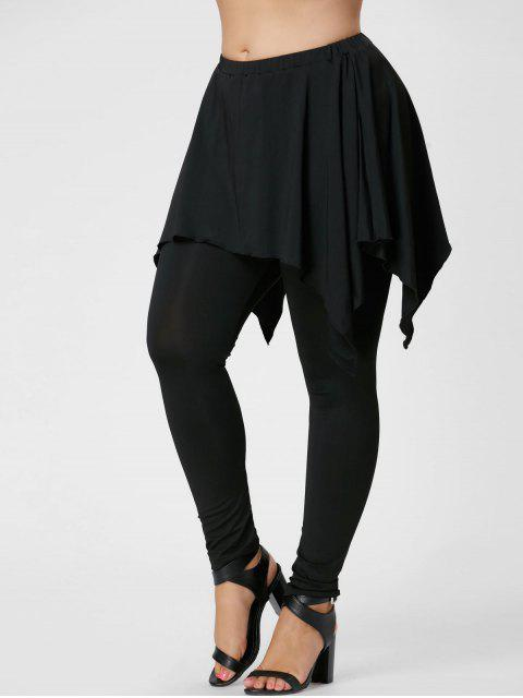 shop Plus Size Handerchief Skirted Pants - BLACK 5XL Mobile