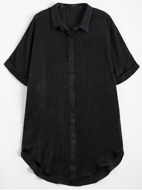 buy Button Up Plain Longline Shirt - BLACK L Mobile