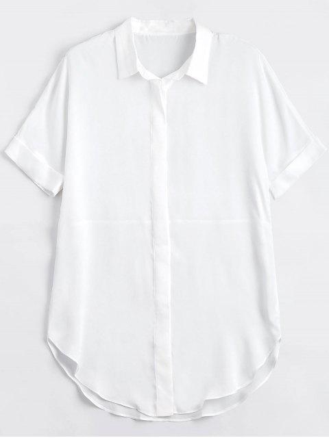 hot Button Up Plain Longline Shirt - WHITE S Mobile