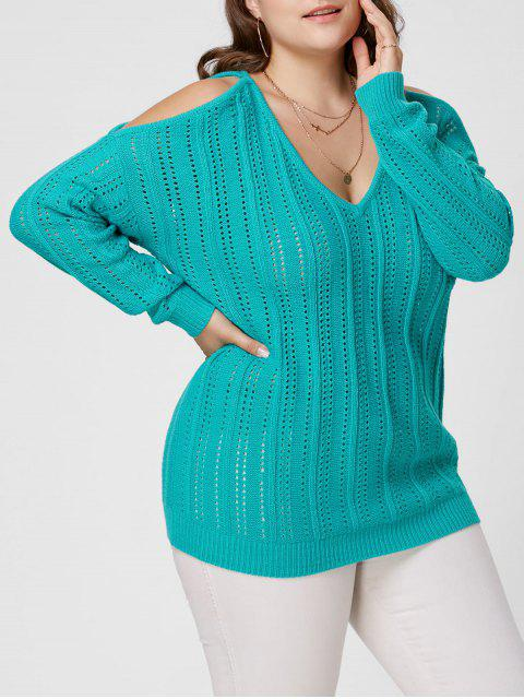 sale Plus Size Open Knit Cold Shoulder Sweater - BLUE GREEN 5XL Mobile