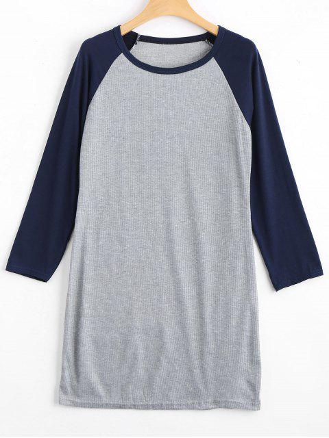 shop Raglan Sleeve Ribbed Knitted Dress - PURPLISH BLUE XL Mobile