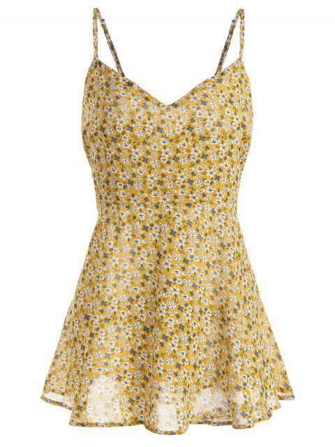 Haut Cache-Coeur Imprimé Floral à Bretelles Grande Taille - Jaune 3XL Mobile