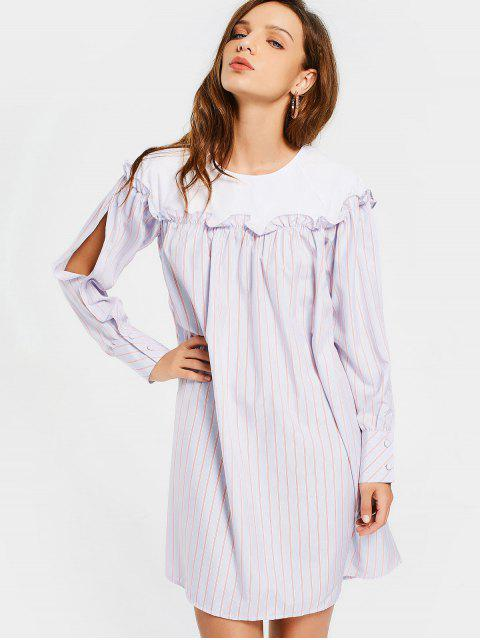 women Split Sleeve Stripes Ruffles Casual Dress - STRIPE L Mobile